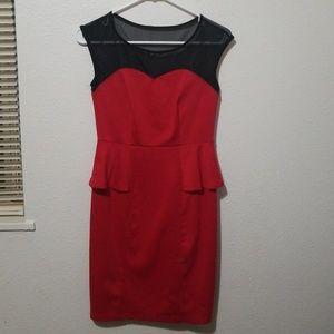 Beautiful Red and Black Midi dress
